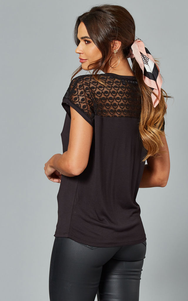 Short Sleeve Lace Top in Black by VM