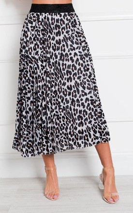 Aria Pleated Animal Print Midi Skirt in Grey by IKRUSH