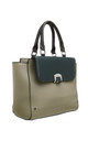 FLAP OVER FRONT POCKET TOTE BAG IN GREEN by BESSIE LONDON