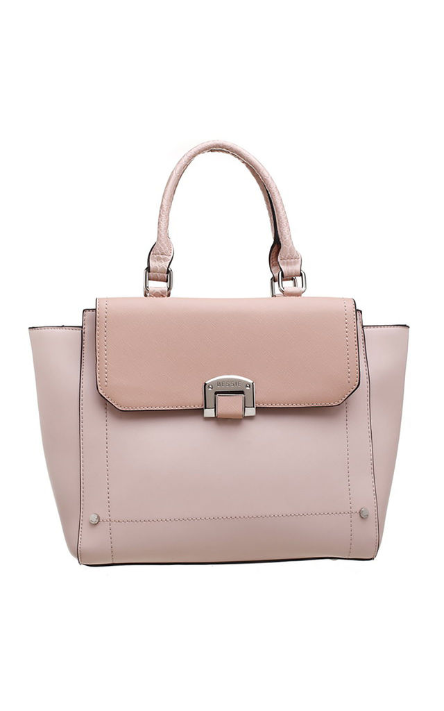 FLAP OVER FRONT POCKET TOTE BAG IN PINK by BESSIE LONDON