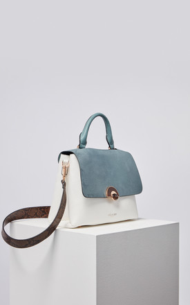 Tabitha Wooden Eclipse Top Handle Bag in Blue/White by Luella Grey London