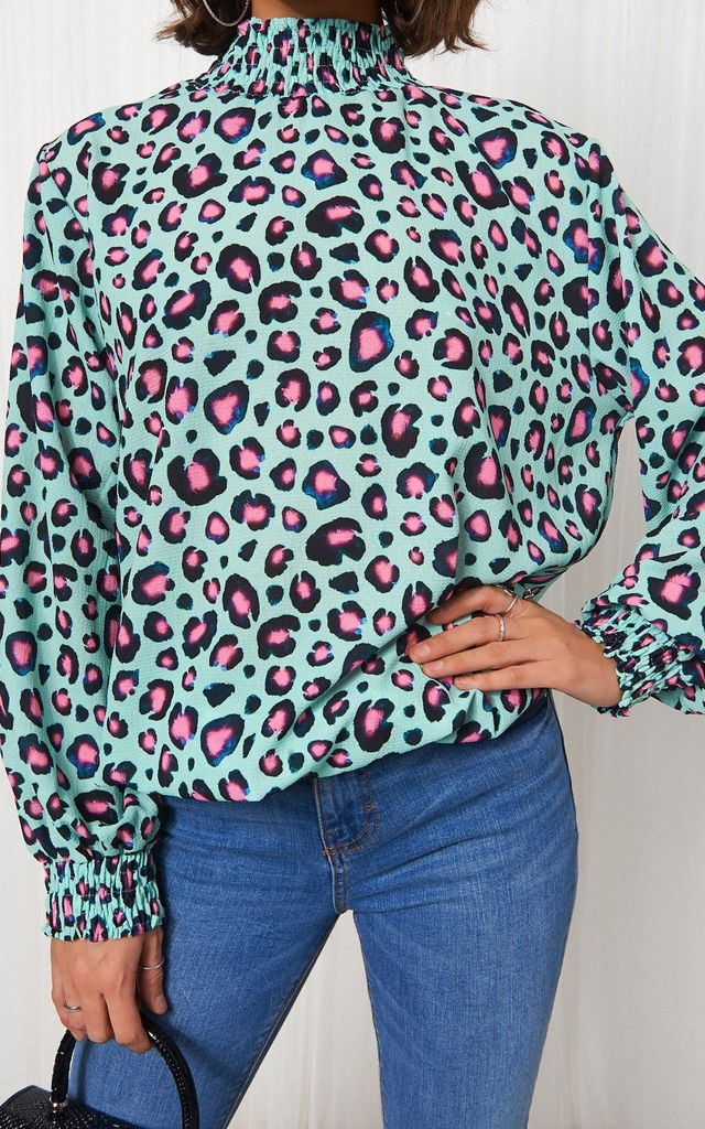 LONG SLEEVE BLOUSE IN BLUE LEOPARD PRINT by The Fashion Bible