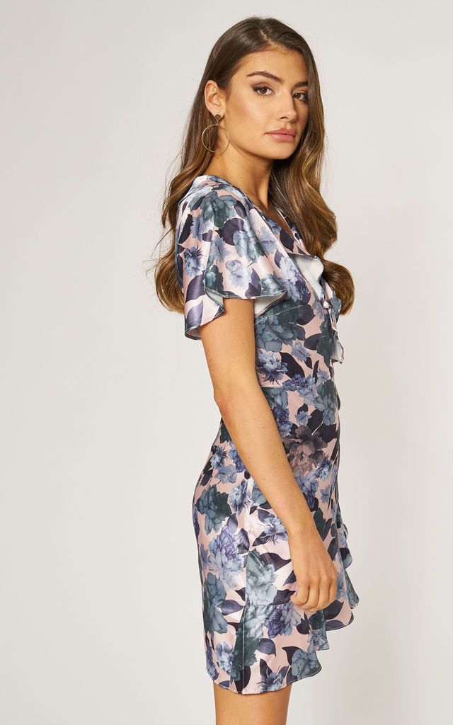 Silky Satin Mini Wrap Dress in Pink & Blue Floral Print by Gini London