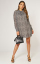 Tunic Pleated Mini Dress with Front Tie in Beige Animal Print by Gini London