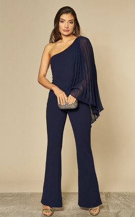 Chiffon Sleeve One Shoulder Jumpsuit in Navy Blue by Goddiva