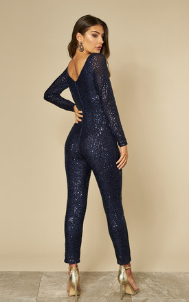 Stripe Sequin Jumpsuit in Navy Blue by Goddiva
