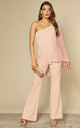Chiffon Sleeve One Shoulder Jumpsuit in Nude by Goddiva