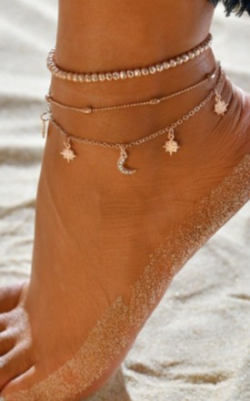 Pack Of 2 | Boho Moon & Stars Diamante Gold Anklets by GIGILAND Product photo
