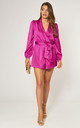 Satin Wrap Playsuit with Tie in Fuchsia by LIENA