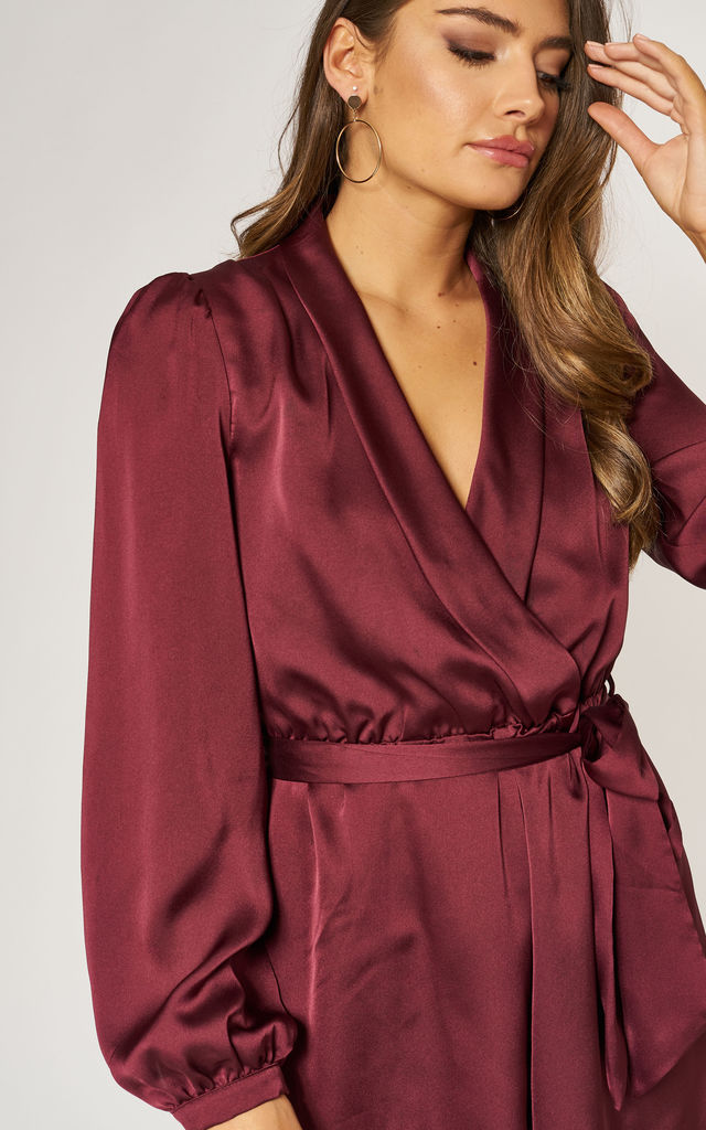 Satin Wrap Playsuit with Tie in Wine Red by LIENA