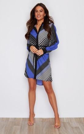 Flora Dip Hem Shirt Dress Dazzling Blue Print by Girl In Mind