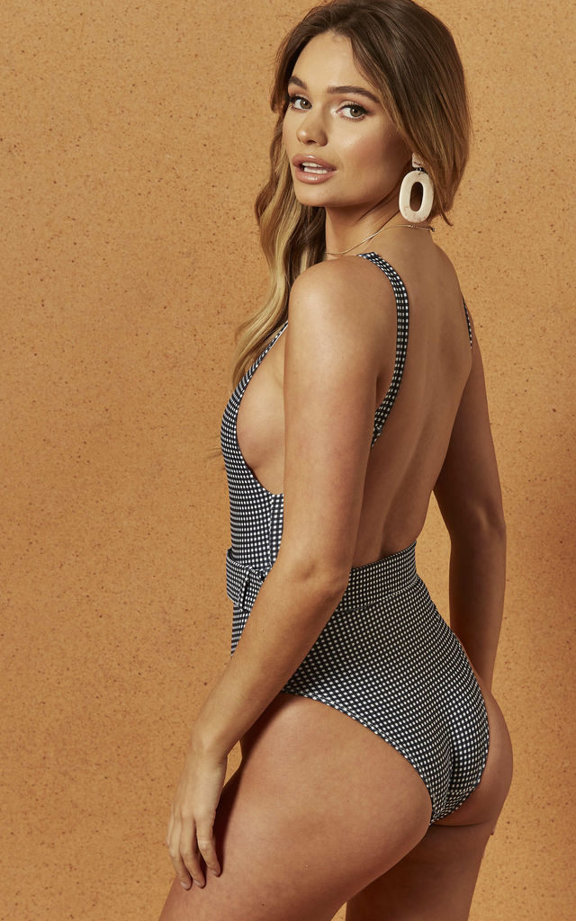 HENDRIX BELTED SWIMSUIT IN HOUNDSTOOTH by Charlie Holiday