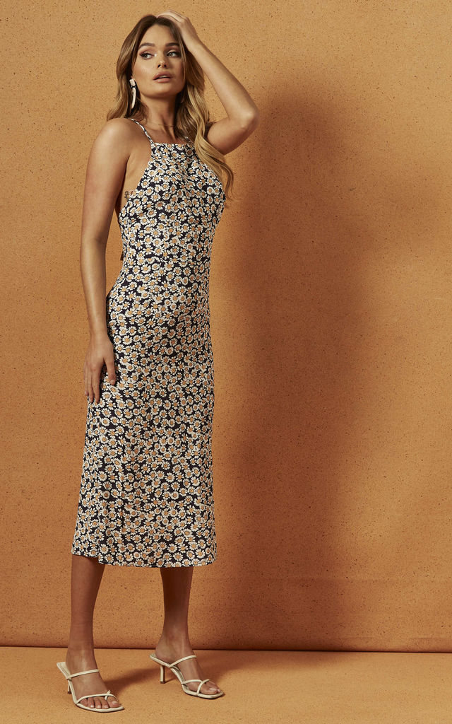 PRESLEY HALTER MIDI DRESS in Daisy Floral by Charlie Holiday