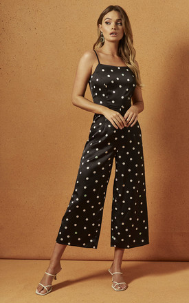 Jeanne Strappy Jumpsuit In Polka Dot by Charlie Holiday Product photo