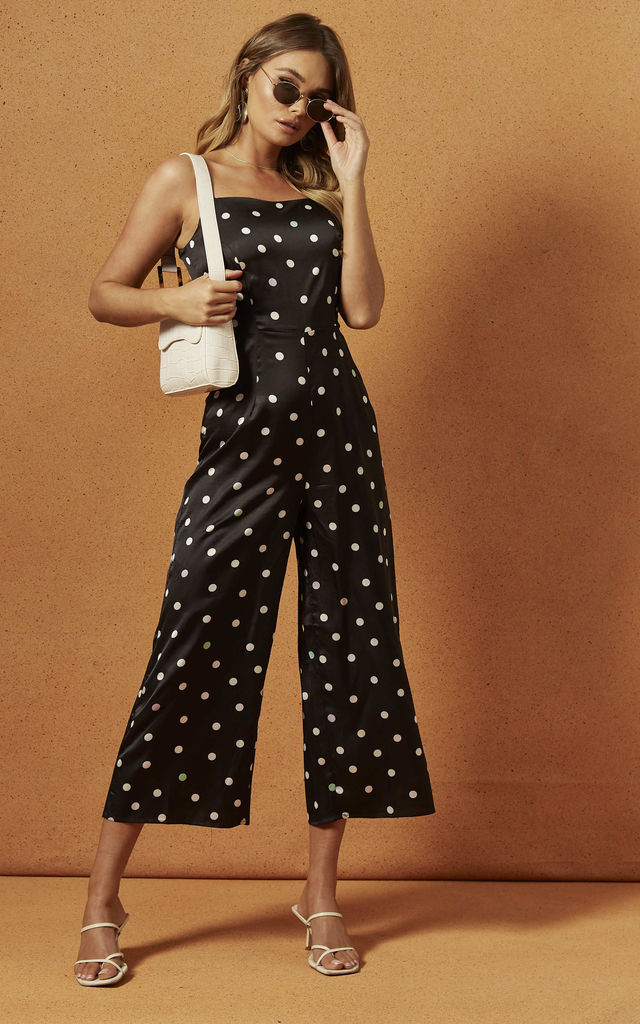 JEANNE STRAPPY JUMPSUIT IN POLKA DOT by Charlie Holiday