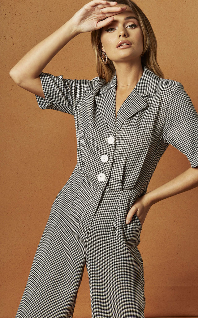 HARVEY JUMPSUIT IN HOUNDSTOOTH by Charlie Holiday