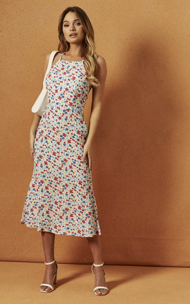 Presley Halter Midi Dress In White Floral by Charlie Holiday Product photo