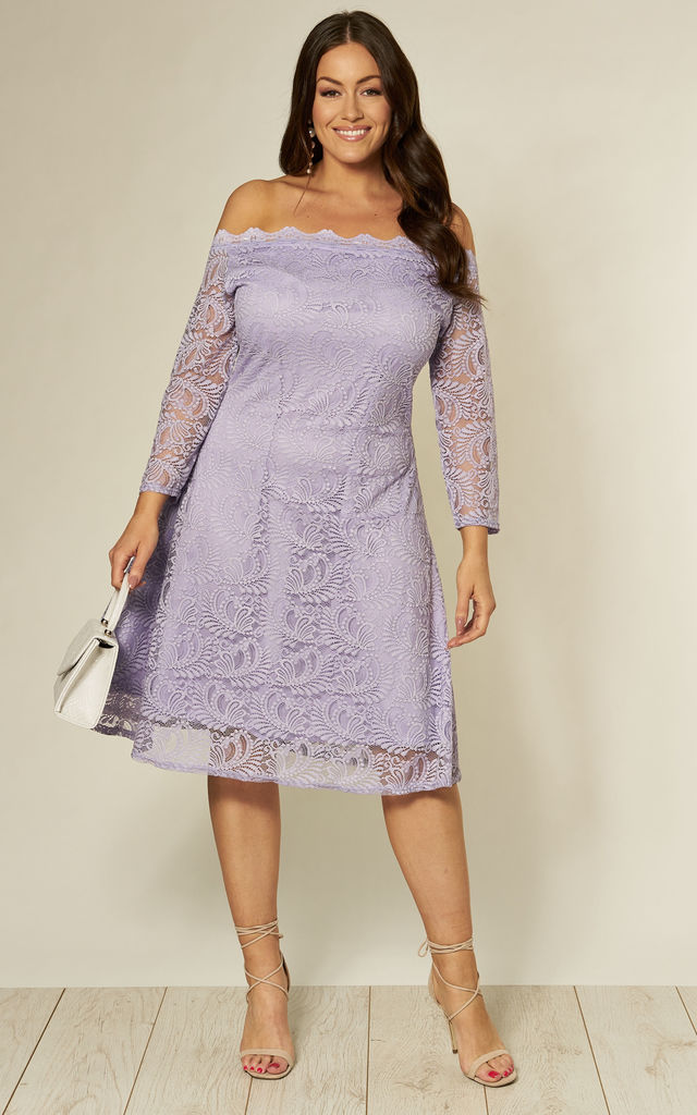 Plus Size Lace Bardot Midi Dress in Lilac by Praslin