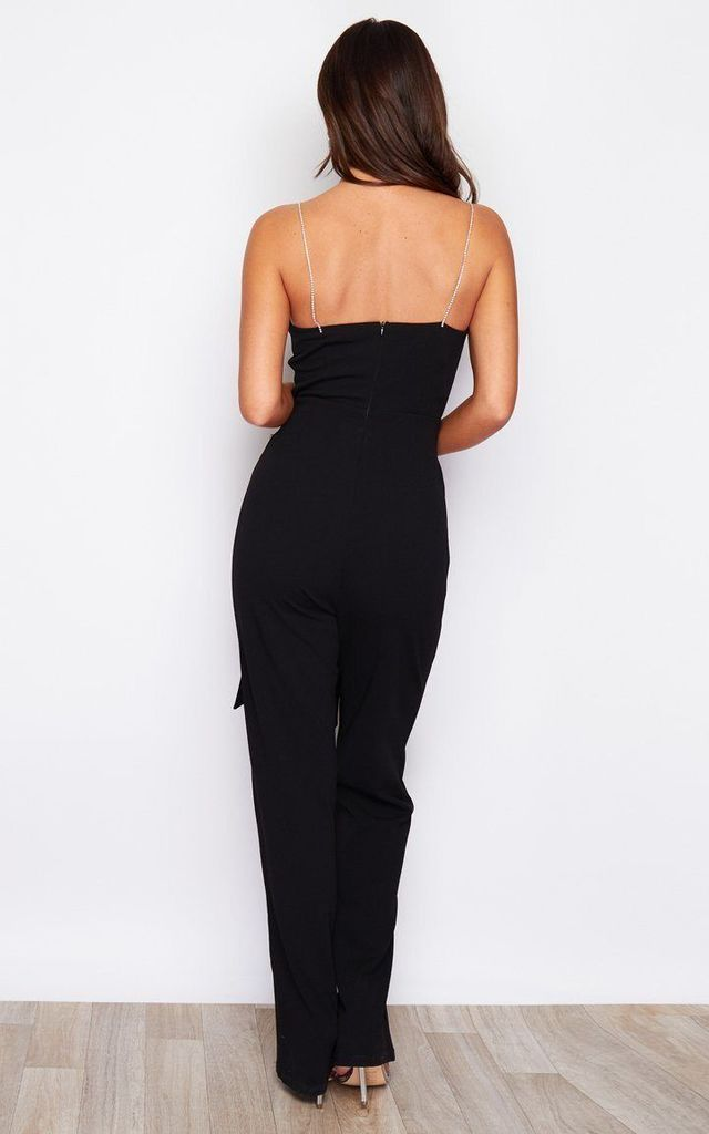 Sassi Tie Waist Square Neck Diamante Strap Jumpsuit Black by Girl In Mind