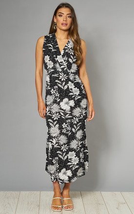 Midi Dress In Black Floral & Spot Print by Mela London Product photo