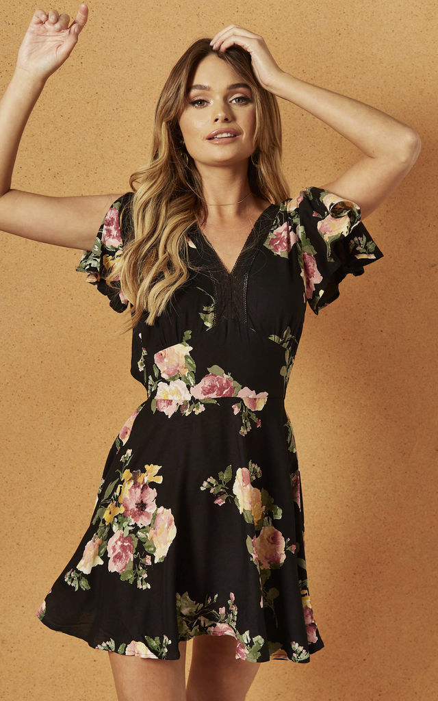 SYCAMORE MINI DRESS IN BLACK ROSE by Band Of Gypsies