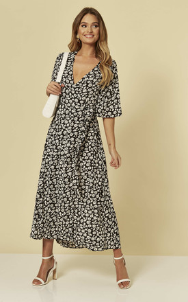 Maxi Wrap Dress in Black and White Floral by Brave Soul London