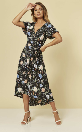 Midi Wrap Dress In Black Floral by Brave Soul London Product photo