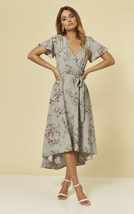 Midi Wrap Dress In Light Blue Floral by Brave Soul London Product photo