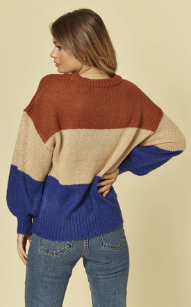 Colour Block Knitted Jumper in Blue Beige and Camel by Brave Soul London