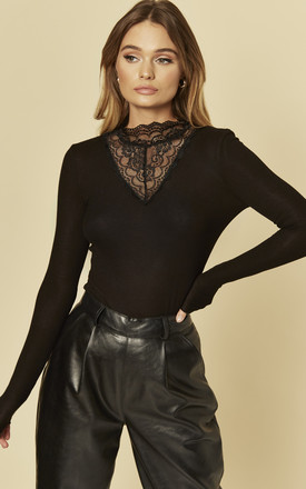 Long Sleeved Top With Lace High Neck In Black by Brave Soul London Product photo