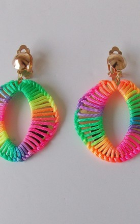 Clip On Rainbow Neon Thread Drop Earrings by Olivia Divine Jewellery