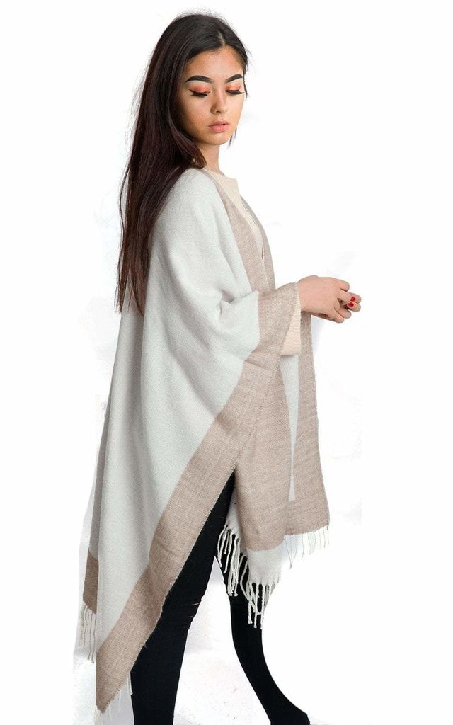 BORDER BLOCK BLANKET CAPE WITH FRINGE in Sand by LOES House