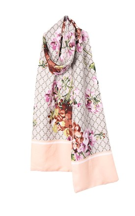 REVERSIBLE SILKY SCARF in PEACH FLORAL PRINT by LOES House