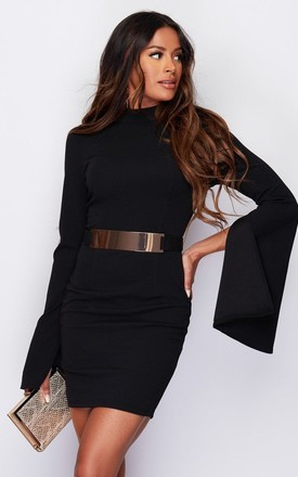 Clara Cape Sleeve Belted Mini Dress Black by Girl In Mind