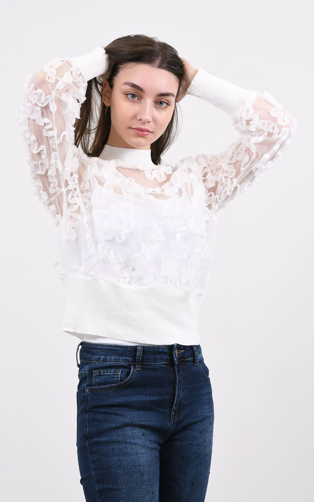 Long Sleeve Sheer Top in White by Lucy Sparks