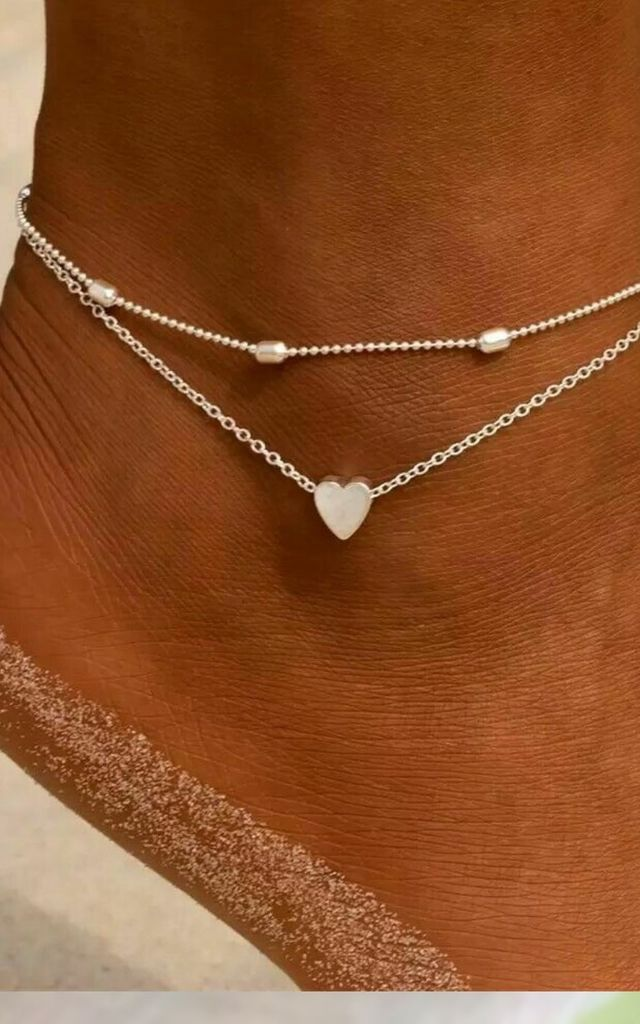 Layered Double Heart Anklet in Silver by GIGILAND