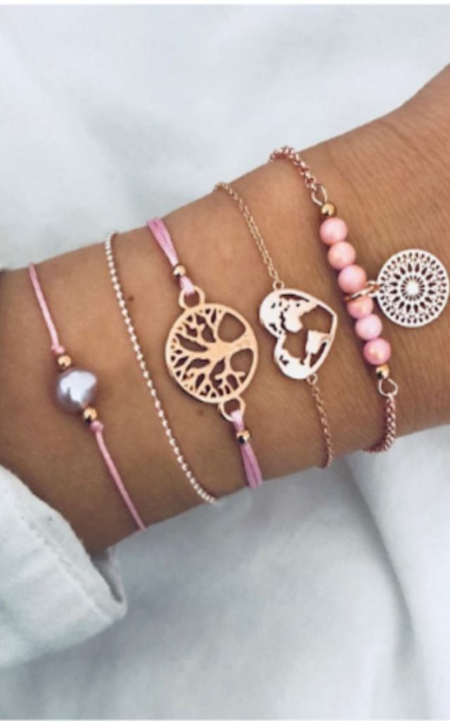 Pack of 5 | Pink Pearl Tree Of Life Bracelet Set by GIGILAND