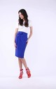 Midi Skirt with High Waist and Pockets in Blue by Bergamo
