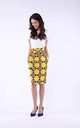 Midi Skirt with High Waist and Pockets in Yellow by Bergamo