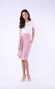 Midi Skirt with High Waist and Pockets in Powder by Bergamo