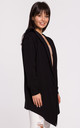 Open Front Hooded Blazer in Black by MOE