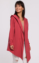 Open Front Hooded Blazer in Coral by MOE