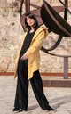 Open Front Hooded Blazer in Yellow by MOE
