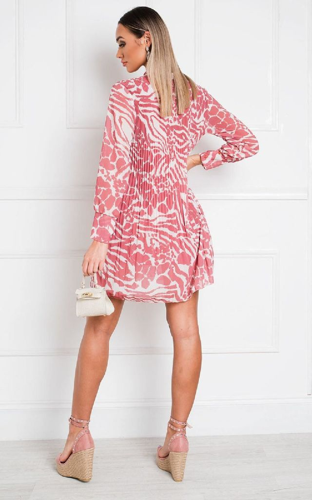 Mandy Pleated Shift Dress in Rust Pink Animal Print by IKRUSH