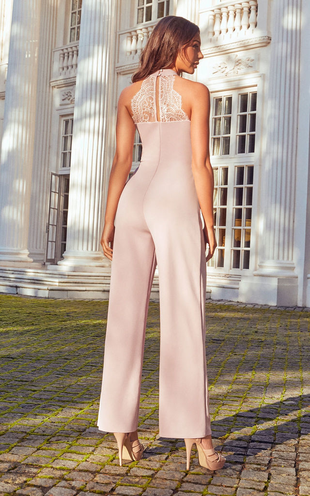 NERIDA LACE TOP JUMPSUIT IN BLUSH by Sistaglam