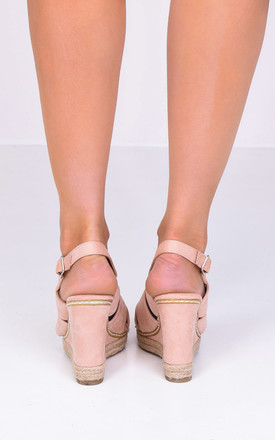 Braided Wedge Sandals in Pink Faux Suede by LILY LULU FASHION