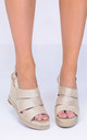 Braided Wedge Sandals in Beige Faux Suede by LILY LULU FASHION