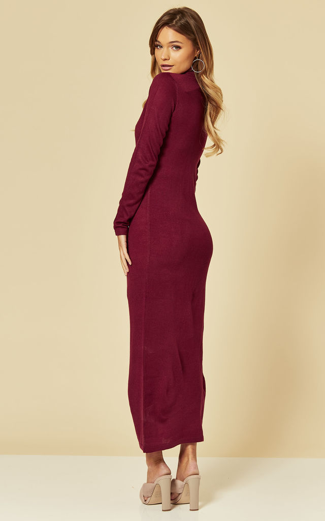 Roll Neck Knitted Maxi Dress in Berry Red by Brave Soul London