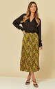 Satin Midi Slip Skirt in Mustard Zebra by Brave Soul London