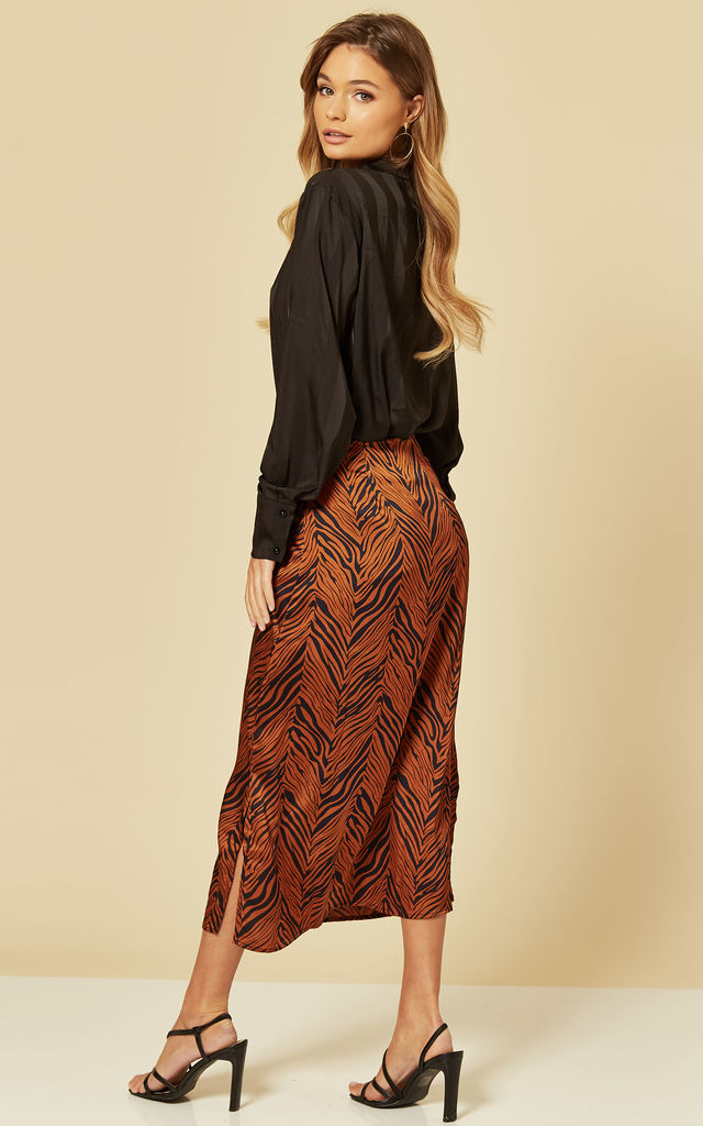 Satin Midi Slip Skirt in Burnt Orange Zebra by Brave Soul London